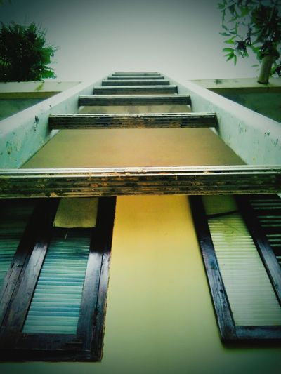 Climb Up! Steps Ahead Houses And Windows Ladder In Sky