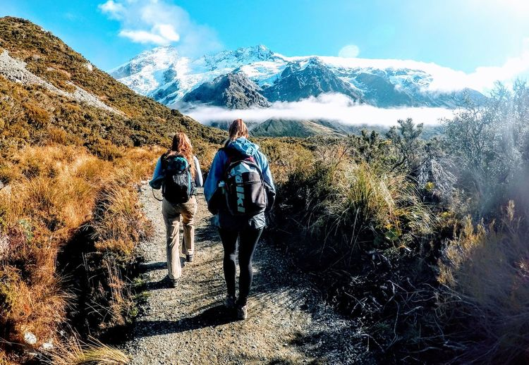 Adult Adults Only Backpacking Beauty In Nature Day Friendship Full Length Hiking Men Mountain Mt. Fuji Nature Only Men Outdoors People Real People Rear View Sky Togetherness Two People Vacations Valley Track Warm Clothing EyeEmNewHere
