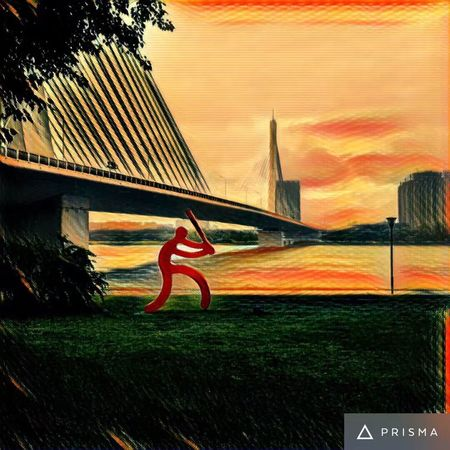 Grass No People Multi Colored Green Color Outdoors Day Sunset Sky Nature Architecture Art Arts Culture And Entertainment Prisma Riverside Park Bridge PaintingStyle Painting EyeEmNewHere