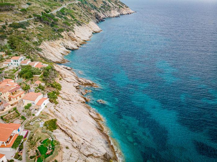 High angle view of bay