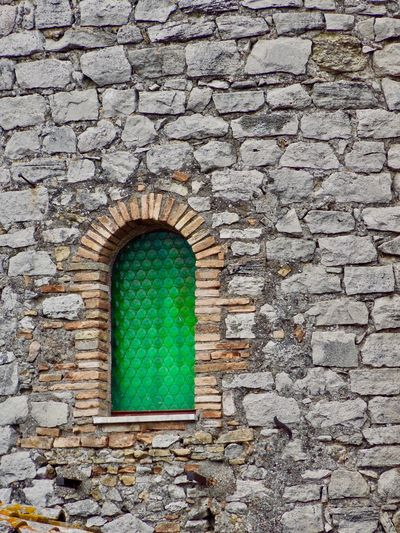 Architecture Built Structure Day Green Color Green Glass Green Window Grey Stone Grey Wall Background No People Old Buildings Old Ruin Outdoors