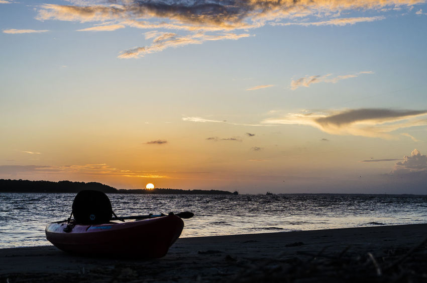 Beach Kayak Ocean Onthebeach Sea Kayak South Carolina Sunset United States The Essence Of Summer Done That.