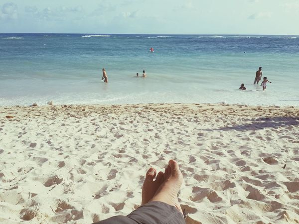 Relaxing on the beach Beach Hanging Out Summer Bali Sandy Beach Ocean View Happy Relaxing Just Chilling Barefoot