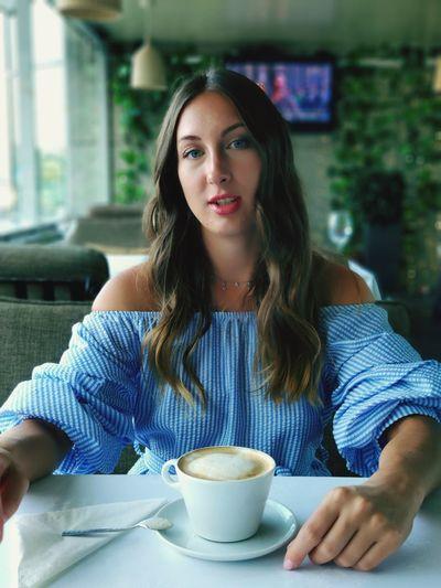 EyeEm Selects Portrait Young Women Drink Women Sitting Cafe Tea - Hot Drink Coffee Break Cappuccino Coffee - Drink