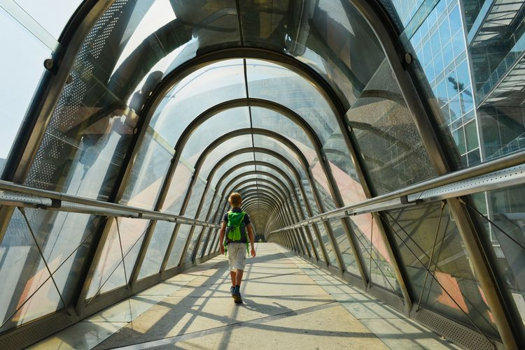 Arch Architecture Built Structure Casual Clothing Day Direction Full Length Indoors  Leisure Activity Lifestyles One Person Pattern Real People Rear View The Way Forward Walking Young Adult