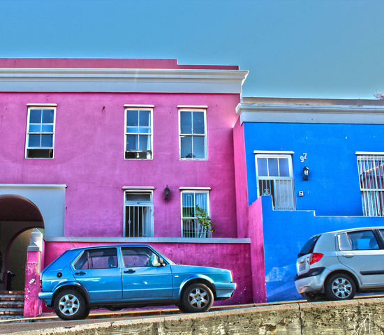 Colorful Buildings HDR Architecture Blue Bo-kaap Building Exterior Built Structure Car City Clear Sky Day Land Vehicle Mode Of Transport No People Outdoors Pink Color Red Sky Stationary Transportation Window EyeEmNewHere