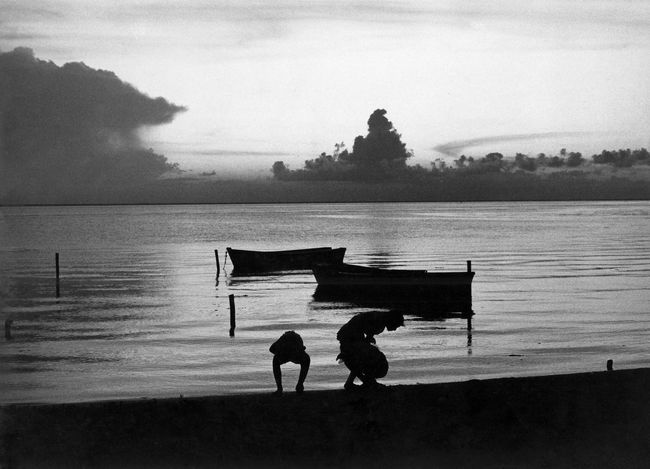 Bay of Mujeres, Isla Mujeres 1981 Bay Of Water Black And White Children Playing On Beach Gelatin Silver Isla Mujeres Mexico Scannedphoto Silhouette Sunset