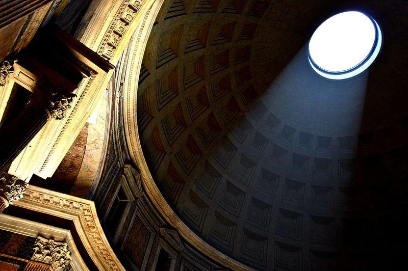 Beam Citytrip Holidays Interior Italy Light Monument Old Pantheon, Pilar Of Light Rome Travel Vacation