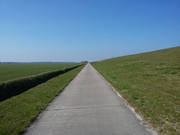 Near the LeVee in Spring. · Friesland Frisia Germany Coastline Pathway Towards The Sky Horizon Symmetry Perspective Converging Lines