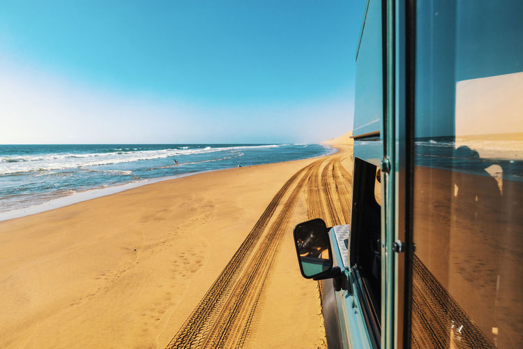 A frame of adventure day in skeleton coast in 4x4