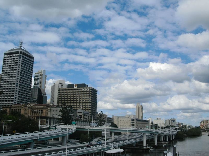 Australia series: Brisbanes traffic routeing... Australia Brisbane Queensland Brisbane River River River View City Cityscape City View  Traffic Bridge Bridges Sky Sky And Clouds Sky_collection Skyscraper View Architecture Travel Traveling Perspective Clouds Streetphotography Outdoors Day