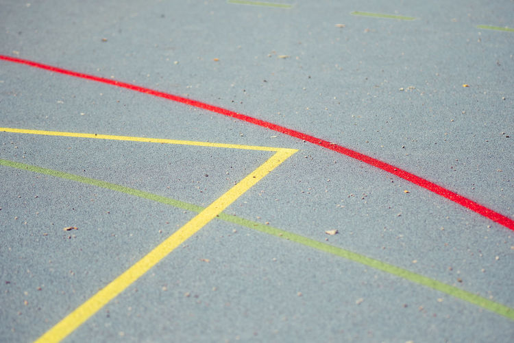 High Angle View Of Markings On Basketball Court