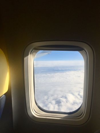 Window View Plane Window Sky And Clouds Flying In The Sky Flying High Window Airplane Vehicle Interior Air Vehicle Transportation Sky Travel Journey Flying Cloud - Sky Mode Of Transport Vehicle Part Looking Through Window Commercial Airplane Scenics Indoors  No People Mid-air Vehicle Seat Day
