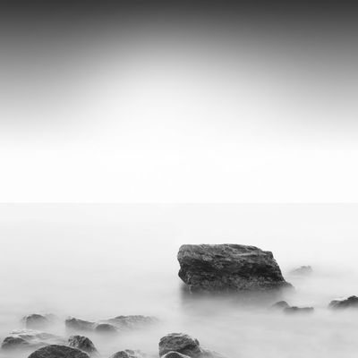 slow water, minimalistic seascape scene vs stone in the sea, odesa, ukraine Beautiful Minimalist Shot Black And White Coast Long Exposure Milk Water Minimal Minimalistic Prints Monochrome Nd Stop Filter Neutral Density Filter Odesa Odessa Prints Of Nature Rock Sea Landscape Seascape Simple Forms Sombre Scape Summertime Urban Exploration Water Scape Waterfront Waterside Waves