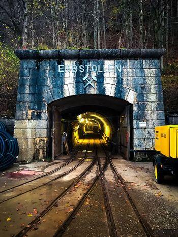 Saltmine  Mining Tunnel Minecart Yellow Hallstatt, Austria