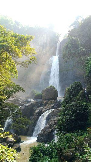 Ciletuh Geopark Waterfall Fog Sky Landscape Flowing Water Natural Landmark Falling Water Geology Power In Nature
