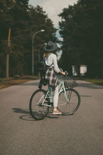Bicycle Transportation Real People Mode Of Transport Full Length Tree Land Vehicle Street Cycling Road Riding One Person Lifestyles Outdoors Day Nature City Young Adult People Bike Woman Woman On A Bicycle The Week On EyeEm
