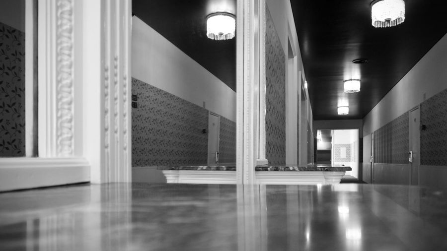 BeW Grand Hotel Do Porto Absence Arcade Architectural Column Architecture Black And White Building Built Structure Ceiling Corridor Electric Light Empty Flooring Illuminated Indoors  Light Lighting Equipment Luxury Modern No People Office Reflection Surface Level Window