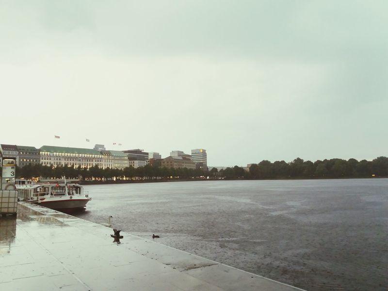 Water Sky City Architecture Built Structure Day GERMANY🇩🇪DEUTSCHERLAND@ Hamburg Lake Old Buildings rain Travel Destinations City