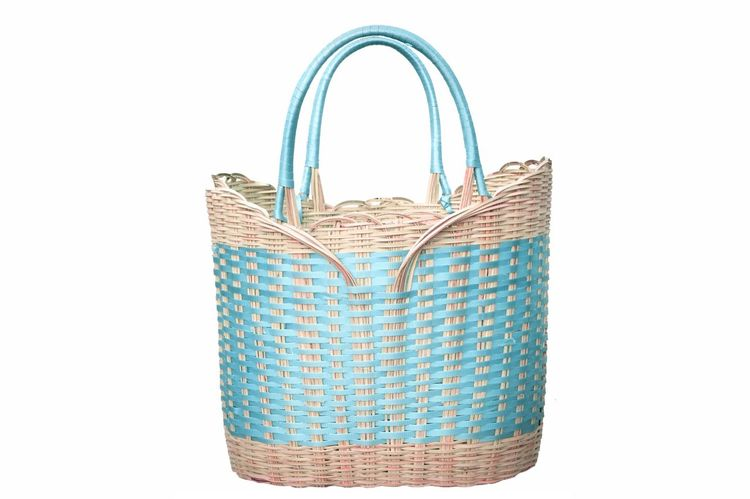 Basket Dar Es Salaam Tanzania African Shopping Basket Handmade Basket Handmade Paschal Rutagwerela Natron Studios Rutagwerela African Basket Cut Out Basket White Background Multi Colored Blue No People Close-up