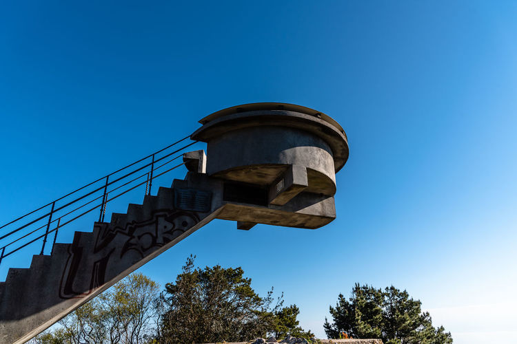 Viewpoint in the mountain Mirador Del Fitu Sky Clear Sky Low Angle View Blue Architecture Built Structure No People Copy Space Sunlight Outdoors Mountain Viewpoint Travel Travel Destinations Tourist Attraction  Structure Nature Vantage Point Building Exterior Staircase