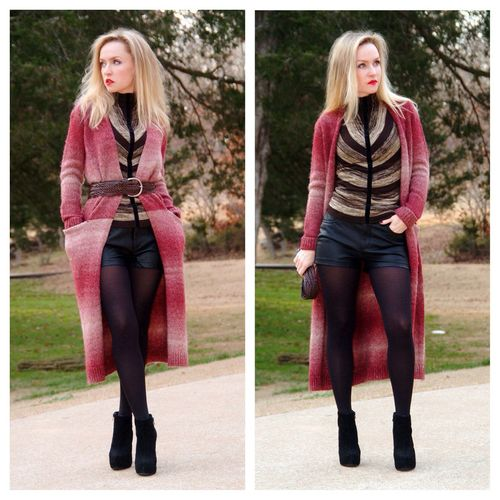 Ootd wool cardigan & leather shorts Winterstyle Annrobiefashion Street Fashion