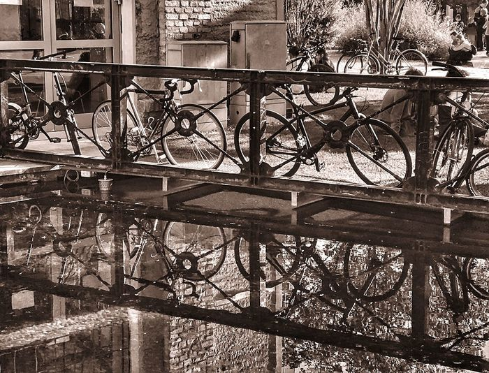Bicycle parked by railing in canal