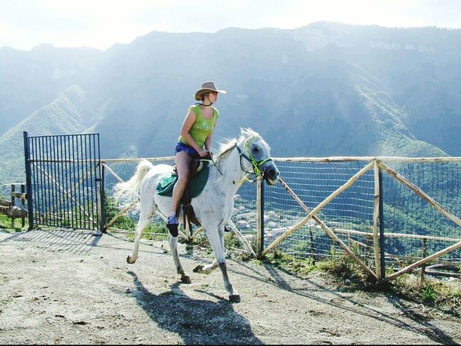 Girl Power Horse Countryside Mountains Cowgirl Horserider Sky Green White Wilderness
