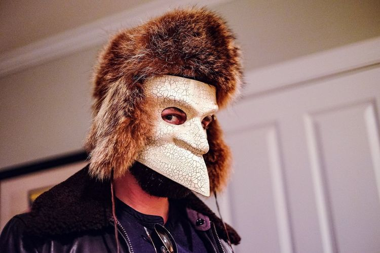 Close Up Fur Hat Hat Home Invasion Man Mask Mysterious Party Scary Serious Stranger
