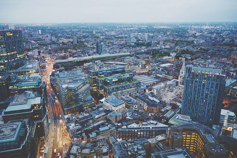 Early morning view across London from its highest restaurant. Morning Cityscapes London Enjoying The View Restaurant City Breakfast Shorditch East London Landscapes With WhiteWall London Lifestyle Postcode Postcards Postcode Postcards
