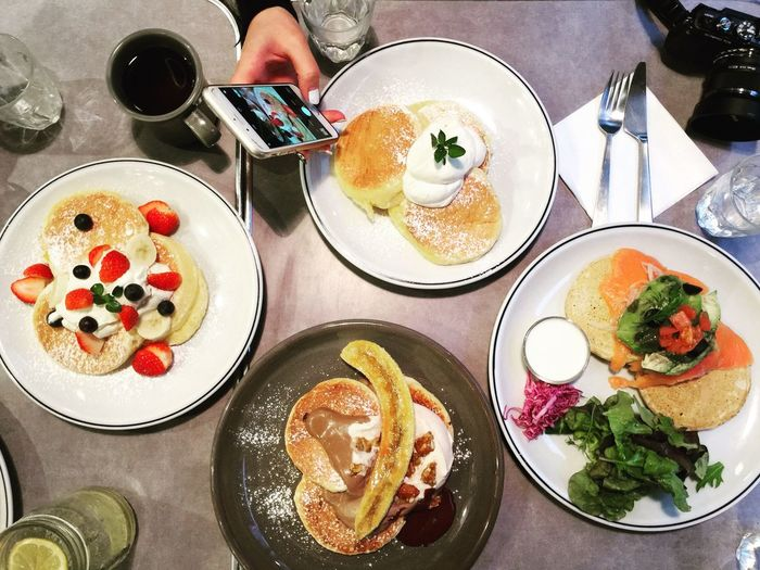 Food Food And Drink Table Plate Freshness Indoors  Ready-to-eat One Person High Angle View Coffee - Drink Directly Above Serving Size Fried Egg Indulgence Human Hand Real People Drink Temptation Human Body Part Pancakes