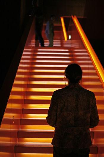 Frau steht vor hoher Treppe und schaut hinauf Anstrengen Anstrengung Aufstieg Aufwärts Erfolg Frau Gehen Hinauf Hinaufgehen Hinaufsteigen Hochgehen Nach Oben Personen Rote Treppe Stufen Symbol Symbolbild Symbolic  Treppe Women