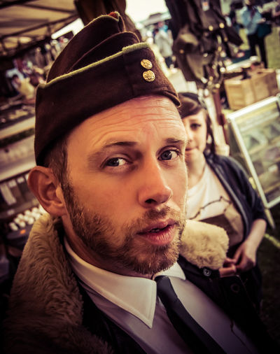 1940s Beard Close-up Day Fashion Indoors  Men One Man Only One Person People Real People Retro Vintage War Warm Clothing