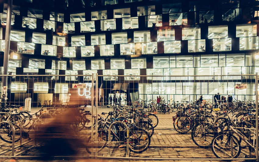 In Progress Albert-Ludwigs-Universität Architecture Bicycle Breisgau Building City Lights Degelo Library Motion Night Outdoors The City Light Uni Freiburg University Urban