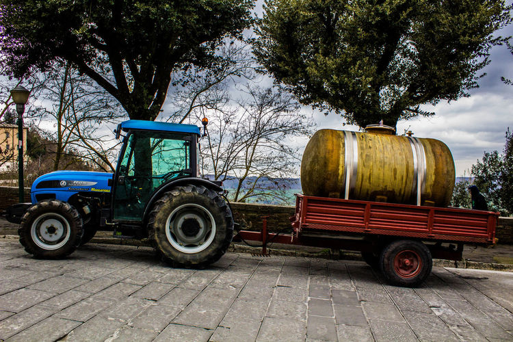 Italian Wine Land Vehicle Mode Of Transport No People Parked Tractor Transportation Trasportation In Montepulciano Vintage