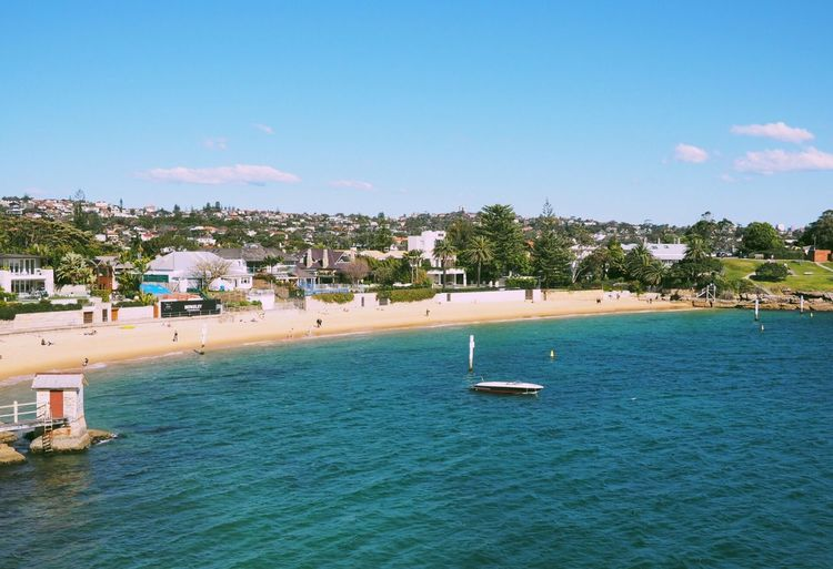 Watsons bay. 20mm. Water Nautical Vessel Sea Waterfront Outdoors Building Exterior Blue Day Architecture Transportation Beach Built Structure Nature Tree Sky Tranquility Town Beauty In Nature Moored Scenics The Week On EyeEm