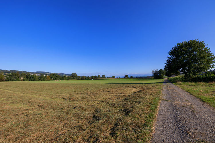 Scenic view of land against clear blue sky
