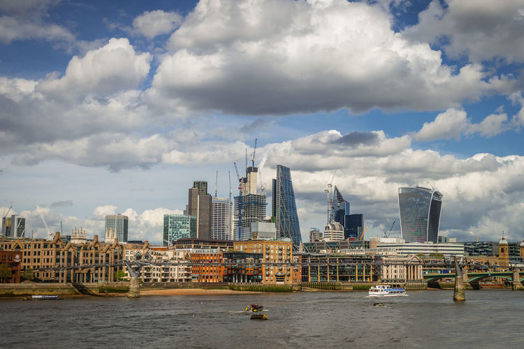Architecture Cloud - Sky Built Structure Building Exterior Sky City Building Water Waterfront Transportation Skyscraper Urban Skyline Office Building Exterior River Nautical Vessel Day Cityscape Tall - High No People Modern Outdoors Financial District  London City Of London Thames