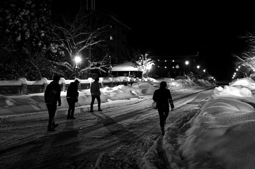 Night Winter Snow Cold Temperature Real People Leisure Activity