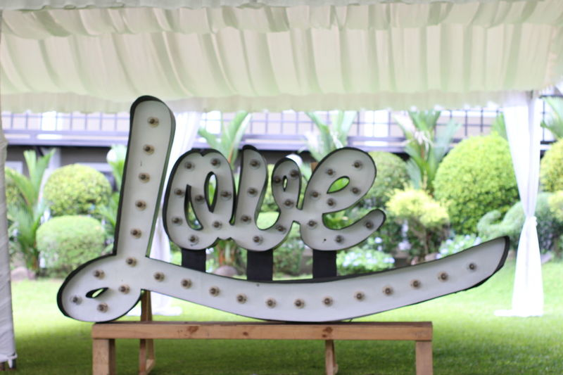 Love Sign SignSignEverywhereASign Signs Wedding Love ♥ Lovelovelove No People No People Outdoors Signs_collection Tent Wedding Day