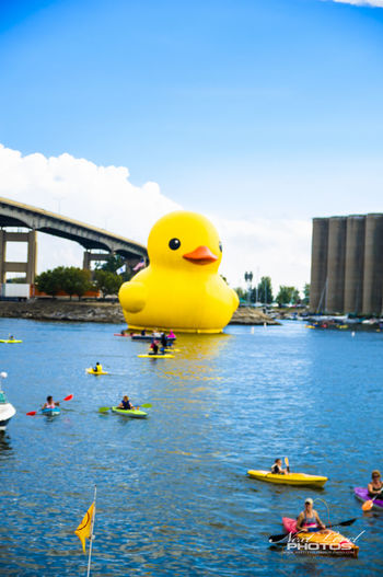 Buffalo Ny Canal CanalSide Canalsidebuffalo Flying Huge Breakfast Inflateable Water Waterfront Yellow Yellow Duck