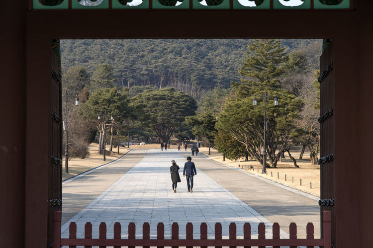 View of Hyeonchungsa which is the temple of General Lee Sunshin who saved Joseon (Korea) from Japanese invasion. Adult Adults Only Architecture Architecture Day Frame In Frame Full Length Gate Gates Ice Rink Indoors  Only Women People Real People Sunlight Temple Togetherness Tree Two People Walking Women