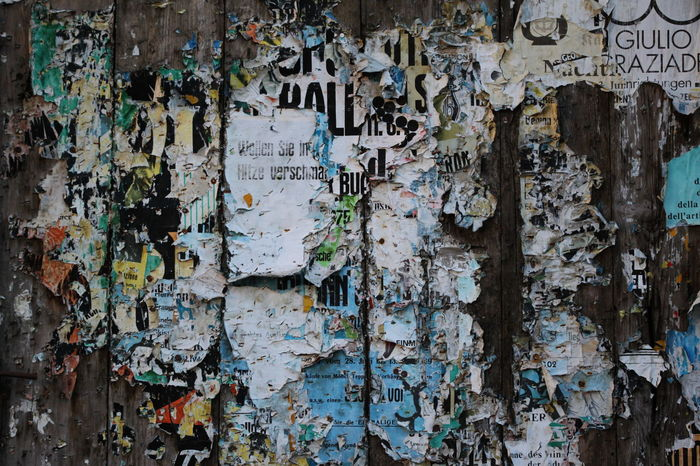 100mm Art? Bad Condition Billboards December 2015 Deterioration Doorway Full Frame Information Multi Colored Parcines,sudtirol