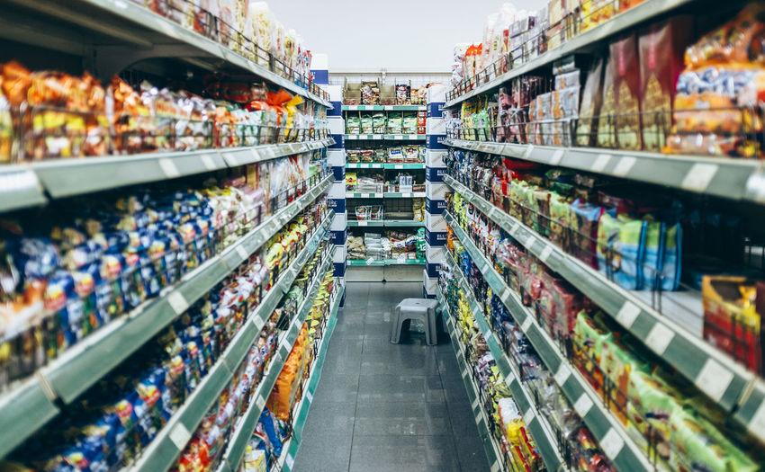View inside a supermarket aisle