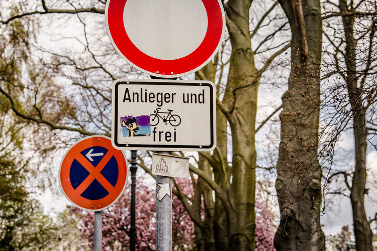 Residents only Bambi Communication Direction Directional Sign Guidance Information Joke No Thoroughfare! Residents Only Road Sign Sign Stopping Restriction Symbol Text Trees Warning Sign