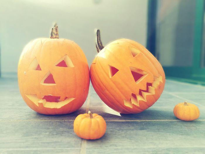 Jack O Lanterns On Floor During Halloween