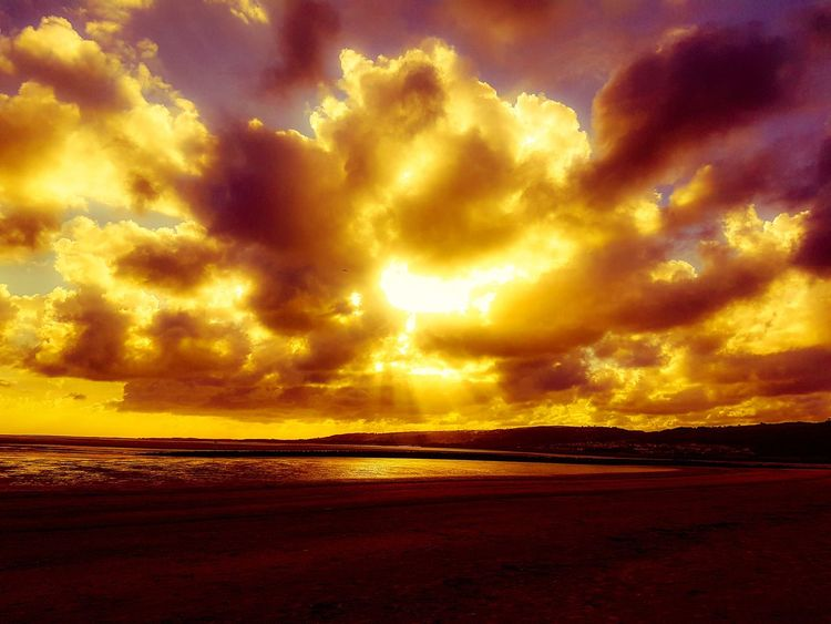 Dramatic Sky Cloud - Sky Sea Nature Sunset Sky Horizon Over Water Beauty In Nature Scenics Water No People Outdoors Yellow Beach Storm Cloud Thunderstorm Power In Nature Lightning Day