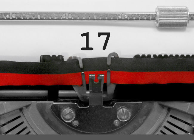 17 Number by the old typewriter 17 BIG NR Numbers Only Retro Seventeen Text Type Writer Word Writing Backgrounds Nostalgia Number Numbers Numeral Numerals Numeric Page Single Typewriter Typewriting Typing Vintage Written