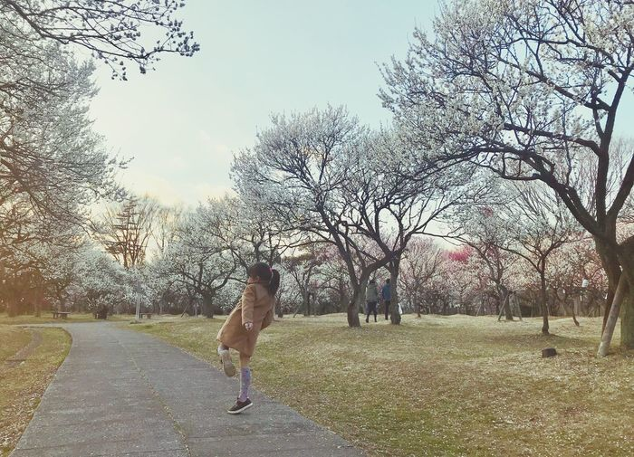 Because I am happy 😃 Skipping Girl Happykids Spring Plum Blossom Omiya Park Tree Bare Tree One Person Real People Nature Walking Grass