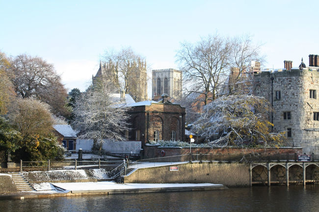 York Minster across the river in the snow Architecture Building Exterior Built Structure Cathedral History Outdoors Snow York Minster
